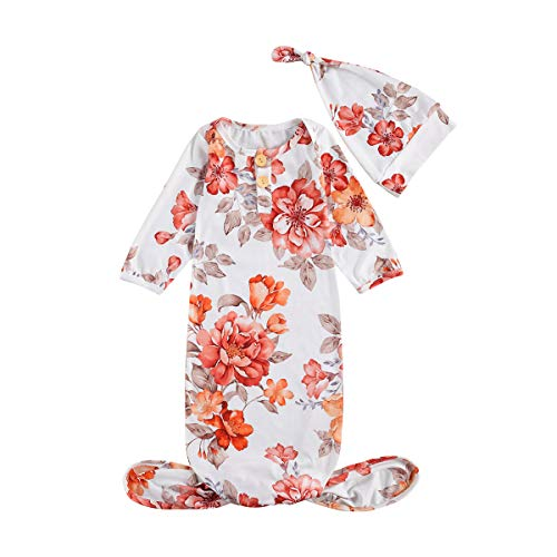 Unisex Baby Cotton Nightgown Long Sleeve Footed Gowns Sleep Newborn Blanket Sleeper Baby Shower Pajama Robes Sleepwear (Chrysanthemum red, 0-3 Months)
