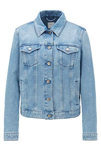 BOSS Damen J90 Ghent Regular-Fit Trucker-Jacke aus sonnengebleichtem Stretch-Denim