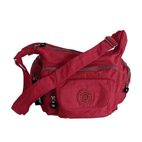 Bag Street Umhängetasche Bodybag Nylon diversi colori-präsentiert von ZMOKA® (rosso)