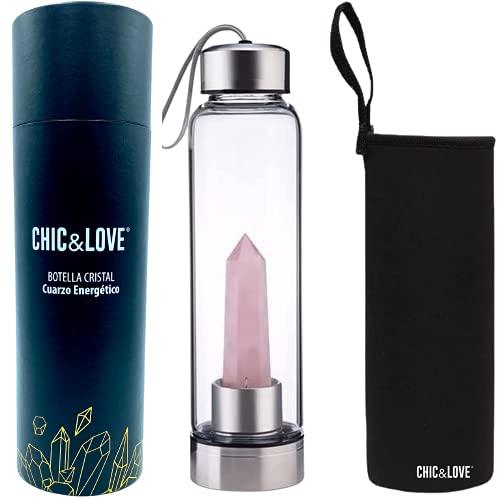CHIC & LOVE   Botella Acero/Cristal para Agua con Piedra/Gemas Preciosas de Cuarzo Rosa   Con Propiedades Curativas Naturales   Capacidad 550 ml   Incluye Funda de Neopreno Portátil