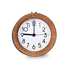 Tenkyo Round Silent Table Top Alarm Clock Analog Wooden Desk Clock, Battery Operated, Small, Dark Brown