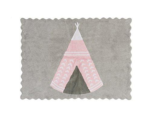 Aratextile. Tapis pour enfant 100 % coton lavable en machine Collection Teepee Gris_Rose 120 x 160 cm