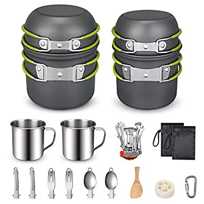 G4Free Camping Cookware Mess Kit 19 Piece Hiking Backpacking Picnic Cooking Bowl Non Stick Pot Pan Knife Spoon Set 19PCS (Green)