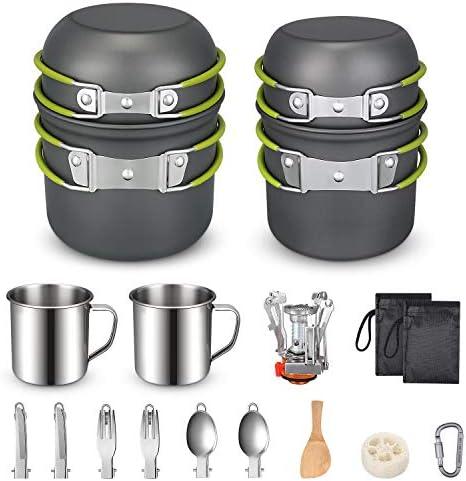 G4Free Juego de 2/4/13 piezas de utensilios de cocina para acampar, senderismo, mochilero, cuenco de cocina antiadherente, juego de cuchillos y ...
