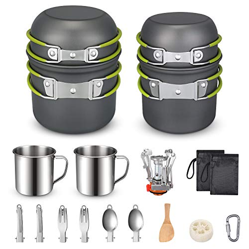 G4Free Camping Cookware Mess Kit 19 Pieces Hiking Backpacking Picnic