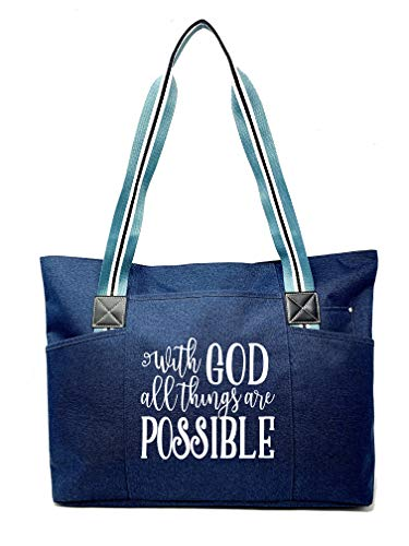 Large Inspirational Zippered Tote Bags for Women - (With God Blue)