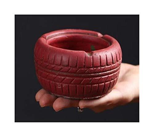 Familie tragbare Aschenbecher Rund Cement Aschenbecher mit Anti-Rutsch-Schuss Retro Gummireifen-Form-Aschenbecher Wohnzimmer Büro-Kaffeetischdekoration (Color : Red)
