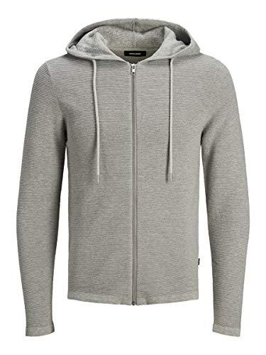JACK & JONES Herren JJELIAM Knit Hood Cardigan NOOS Kapuzenpullover, Light Grey Melange, XL