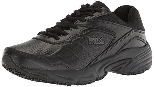 Fila womens Runtronic Slip Resistant Running Food Service Shoe, Black, 7.5 US