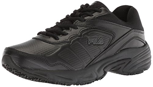 Fila womens Runtronic Slip Resistant Running Food Service Shoe, Black, 7.5 US