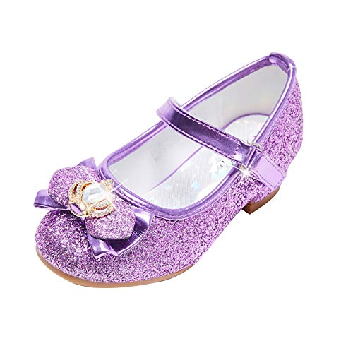 STELLE Girls Mary Jane Glitter Shoes Low Heel Princess Flower Wedding Party Dress Pump Shoes for Kids Toddler(ST13-Purple, 3ML)