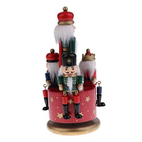 N/A XBSBS Neuer Hölzerne Nussknacker Schlagzeuger Spieluhr Aufziehspielzeug Soldaten Charakter Familie Feiertags-Dekoration Dekoration Kollektion (Color : A)