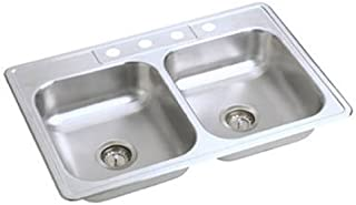 Elkay NE33224 Neptune 33-by-22-by-6-Inch Double Bowl Kitchen Sink, Stainless Steel