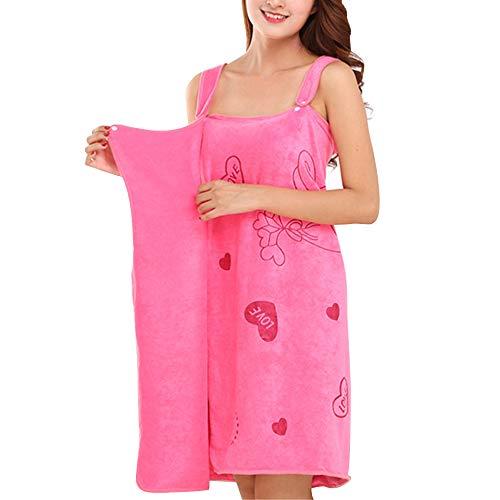 EBILUN Mujeres Albornoz Toalla de baño Abrigo Suave Usable Absorbente de Agua Toalla de baño Falda para Sauna SPA Ducha Rosa