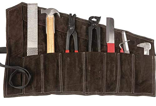 Reitsport Amesbichler Waldhausen, set di accessori per zoccoli in custodia in pelle, 8 pezzi, set di accessori per la cura degli zoccoli Farriers Horse Hoof Set Hooff Farrier Kit