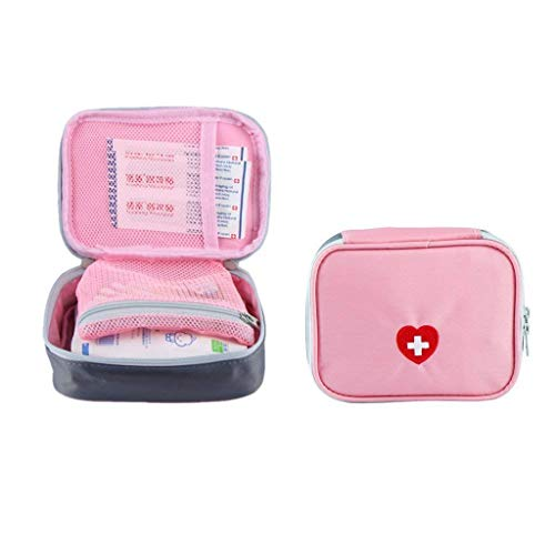 SwirlColor Portable First Aid Pouch Pill Organiser Easy Carry Medicine Container With Multi-pocket for Travel 13x10x4cm (Pink)