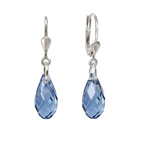 Schöner-SD, 925 Silber Ohrringe mit kleinen Kristallen von Swarovski® 13mm Farbeblau Denim Blue