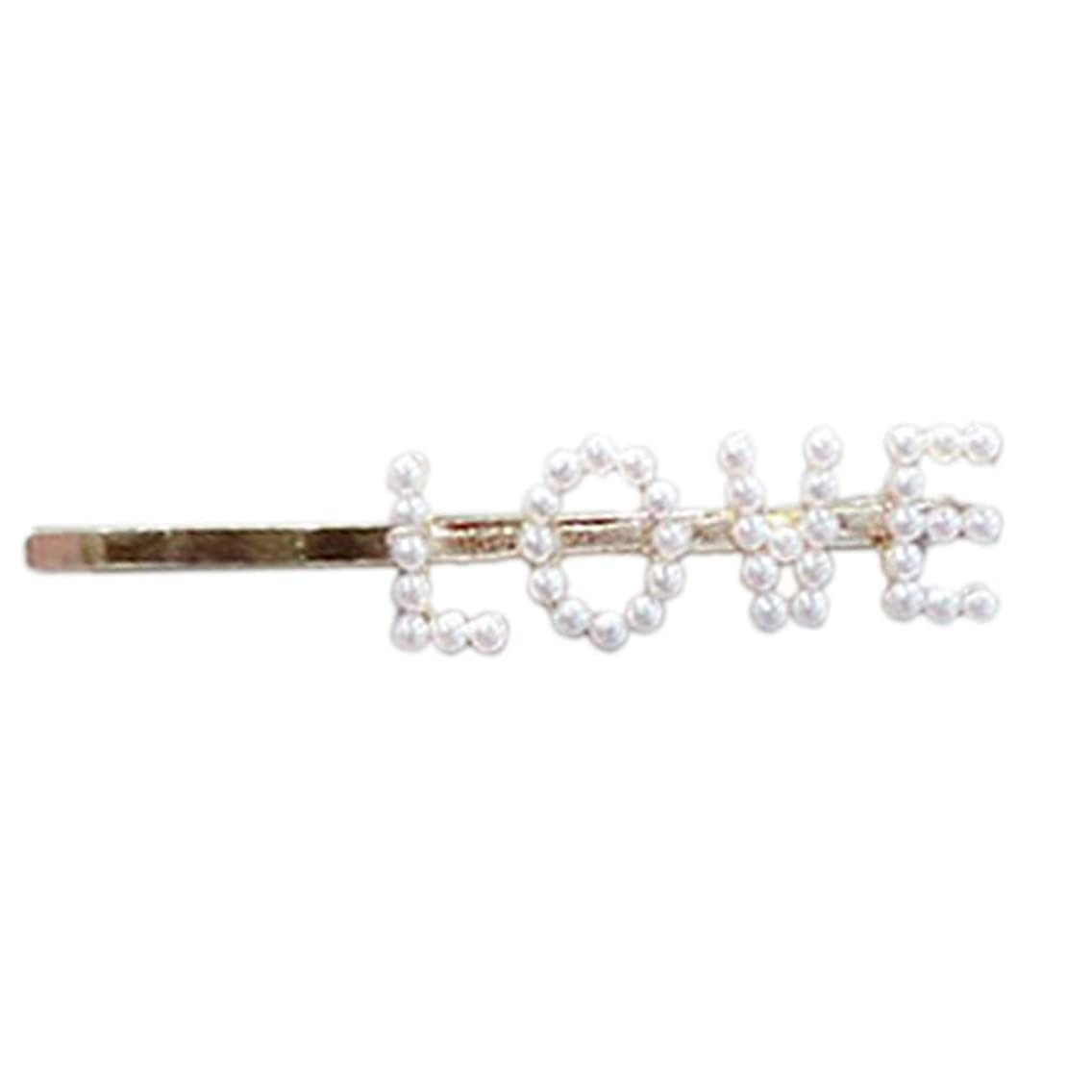 RingBuu Hair Clip - Women Ladies - Vintage One Word Hair Clip Luxury Faux Pearl Funny Letters Alphabet Hairpins Metal Alloy Party Straight Side Hair Barrettes