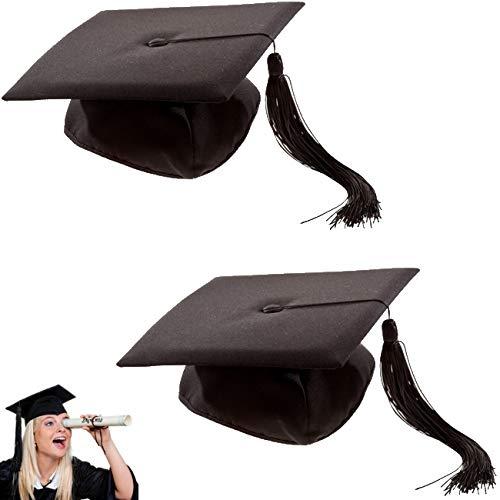 marion10020 Kostümzubehör: 2er-Set Doktor-Hut Akademiker Absolventen-Hut Doktorhut mit Quaste, Einheitsgröße, für Fasching Karneval