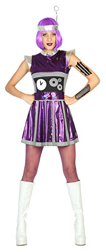 Atosa- Disfraz mujer robot del espacio, Color violeta, M-L (17193)