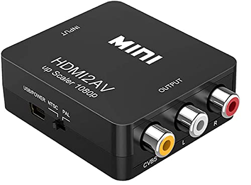 HDMI (IN) to RCA (OUT), 1080p HDMI to AV 3RCA CVBs Composite Video Audio Converter Adapter Supports PAL/ NTSC for TV Stick, Roku, Chromecast, Apple TV, PC, Laptop, Xbox, HDTV, DVD-Black