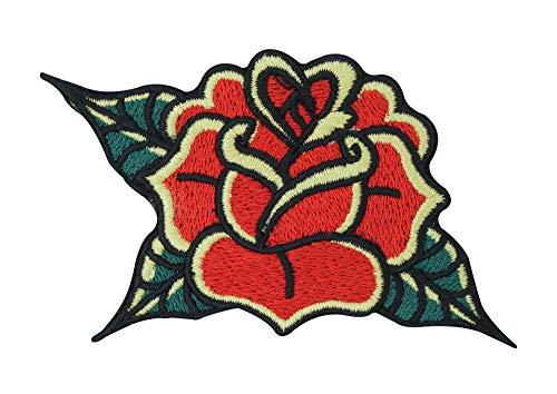 Finally Home Vintage Rose Patch zum Aufbügeln | Retro Rosen Blume Patches, Blumen Bügelflicken, Flower Flicken, Aufnäher in Rot und Grün