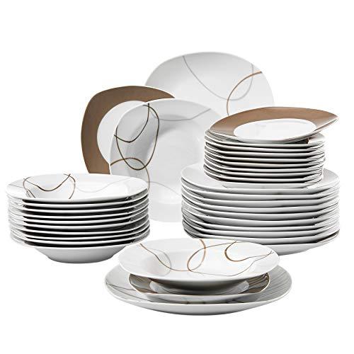 VEWEET Tafelservice 'Nikita' aus Porzellan 36 teilig | Tellerset für 12 Personen | Mit je 12 Dessertteller, Tiefteller und Flachteller