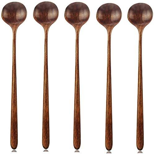 Cucharas largas de madera, 5 piezas estilo coreano 10,9 pulgadas 100% madera natural mango largo cuchara redonda para cocinar mezcla agitador herramientas de cocina utensilios (cuchara de sopa de esti