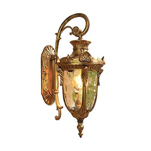 Ronde buitenverlichting antieke wandlamp van aluminium met glazen kap in helder E27, decoratieve vintage IP44 buitenwandlampen hoflamp voor Scenic Area/Foyer/terras, 1 lamp (brons)