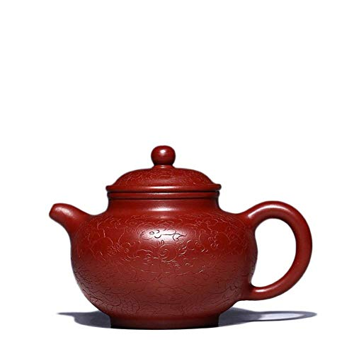 YH-KE Electronic Multimeter Yixing Teapot Ore Big Red Dragons Carved Pottery Teapot Supreme Drop-only Boutique Hand-tea Tea Maker Sand Pot (Color : Big pink pouch) Teapots Dinning
