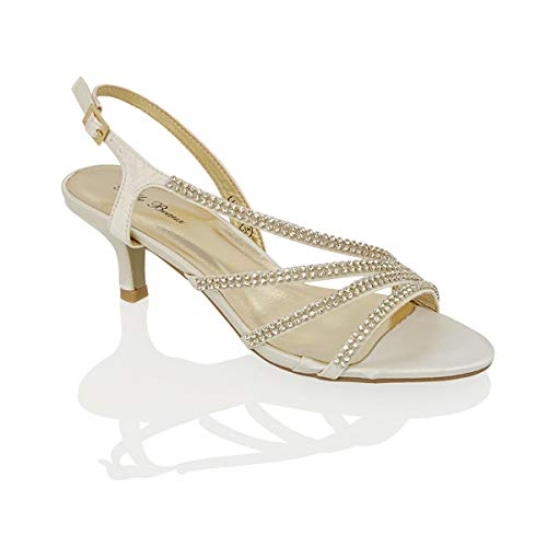 ESSEX GLAM Sandalo Donna Tacco Medio Finto Diamante Matrimonio Festa (UK 3 / EU 36 / US 5, Avorio Satinato)