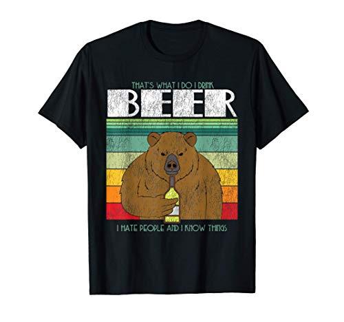 Retrò Orso bevendo birra Retrò Odio le persone Maglietta