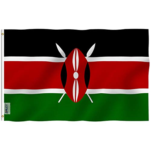 Anley Fly Breeze 3x5 Fuß Kenia Flagge - Lebendige Farbe und UV-beständig - Canvas Header und doppelt genäht - Republic of Kenya Flags Polyester mit Messingösen 3 X 5 Ft