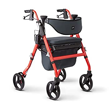 Medline Premium Empower Rollator Walker with Seat Comfort Handles and Thick Backrest Folding Walker for Seniors Microban Antimicrobial Protection 8  Wheels Red Frame