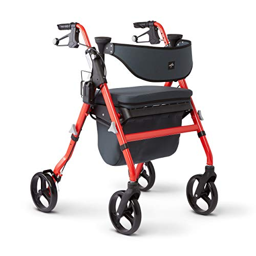 Medline Premium Empower Rollator Walker with Seat, Comfort Handles and Thick Backrest, Folding...