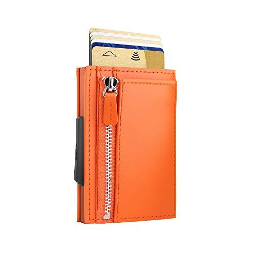 Ögon Smart Wallets - Cascade Slim für Münzen, Automatischer Kartenetui, Popup-Karten, 8 Karten und Banknoten, RFID-Blockierung (Orange)