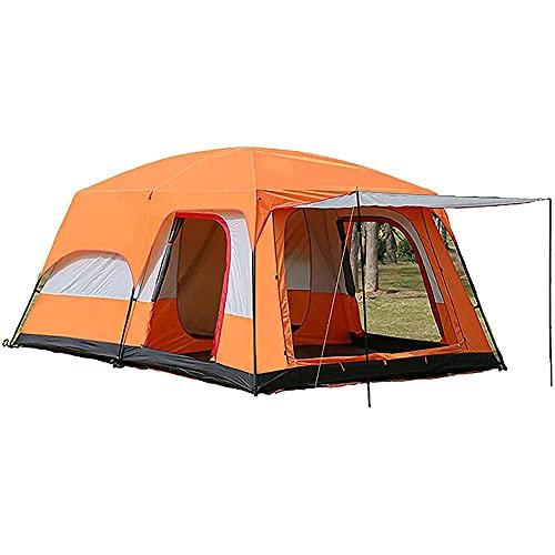 Tienda de campaña para 5 – 12 personas al aire libre doble capa tienda familiar impermeable a prueba de viento tienda de playa refugio domo tienda para festivales jardín (color naranja, tamaño: 5)