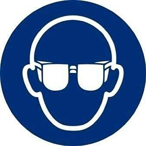 Normaluz RD28602 - Señal Adhesiva 10 Unidades Uso Obligatorio De Gafas Adhesivo de Vinilo 9 cm Diametro
