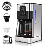 HOMEVER 12-Cup Coffee Maker ( 60oz 1.8L ), Programmable 4 Hours Warm Keep & 2 Mode Brewer, Auto Timer, Self Cleaning with Permanent Filter, Black Silver Coffee Machine with 2.0L Glass Carafe