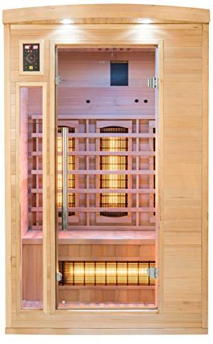 JUNG APOLLON Infrarot Saunakabine 2 Personen, Holz Sauna TÜV geprüft, Größe S 120x105cm, Infrarotsauna, Infrarotkabine Wärmekabine