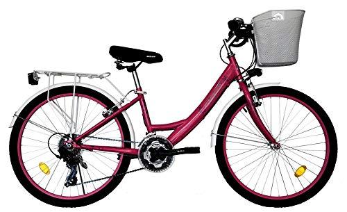 T 24 Zoll Kinder Mädchen Damen City Fahrrad Damenfahrrad Cityfahrrad Citybike Mädchenfahrrad Bike Rad 21 Gang Beleuchtung STVO 5100 PINK