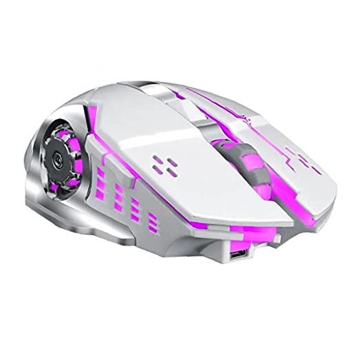 FeelMeet Ratón óptico inalámbrico Recargable P13 de ratón del Juego Silencio retroiluminación LED USB para Juegos de PC de la Tableta de Ordenador portátil Blanco