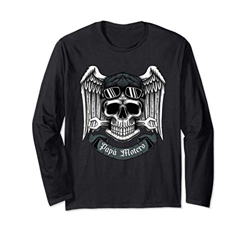 Papa motero, Camiseta de motos para Hombres. Regalo de papa Manga Larga