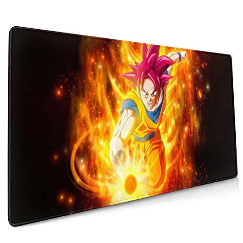 Extended Mouse Pad - Goku Fire Dragon Ball XXL Gaming Computer Mousepad 35.43 X 15.75 X 0.12inch