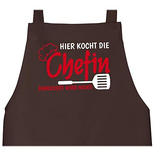 Schürze mit Motiv - Hier kocht die Chefin gemeckert wird nicht - 80 cm x 73 cm (H x B) - Braun - schürzen chefin - X967 - Schürze und Kochschürze für Erwachsene