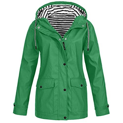 FMYONF Women's Raincoats Medium Length Lightweight Breathable Rain Jacket Transition Jacket Wind Jacket Women's Windbreaker Rain Jacket Waterproof Drawstring Waist Pattern Adjustable Hood - Green - L