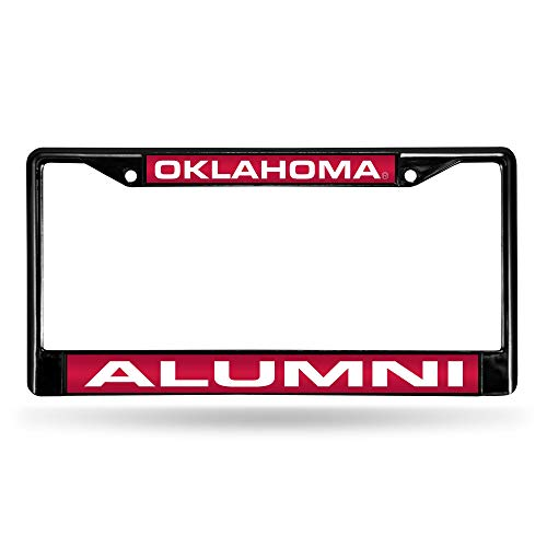 Rico Industries Unisex's NCAA Oklahoma Sooners Alumni Laser Cut Inlaid Standard Chrome License Plate Frame, Black, 6' x 12.25'