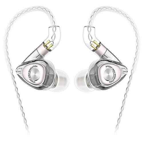 SIMGOT EM2 イヤモニ型 イヤホン Hi-Res IEM ハイブリッドイヤホン ダイナミックドライバー1基+Knowles社製バランスド・アーマチュア型ドライバ1基搭載 2Pin リケーブル 着脱式 3.5mm 高音質 ハイレゾ音源対応 高遮音性 (透明なブラック )