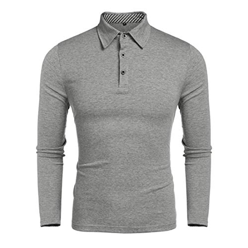 XWLY Men Polo Men Business Shirt Slim Fit Long Sleeve Fashion Simple Men Polo Shirt Spring and Autumn All-Match Casual Office Shirt Business Shirt Gray. M