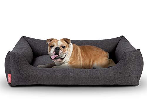 Hyggins Dreamer Pure Hundebett | Bezug abnehmbar und waschbar | Robust und pflegeleicht (XL 117 x 80cm, Dunkelgrau)